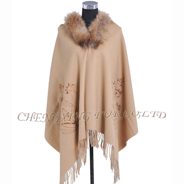 CX-B-P-44F Ladies Latest Design Genuine Raccoon Fur Collar Wool Cashmere Fringed Pashmina Shawl
