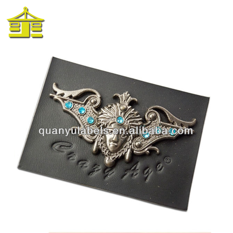 Customized PU leather label with crystal metal logo for quality jeans