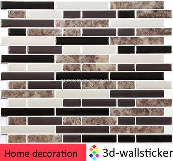 Decorative tile self adhesive stick and go 3d vinyl mosaic stone wall sticker for Kitchen backsplash