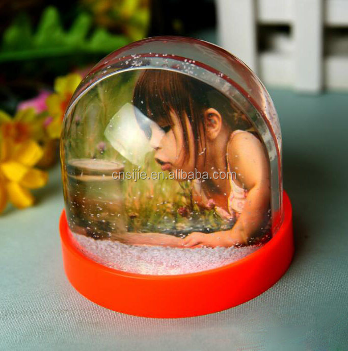 Home Decorative unique plastic custom made snow globes with photo insert