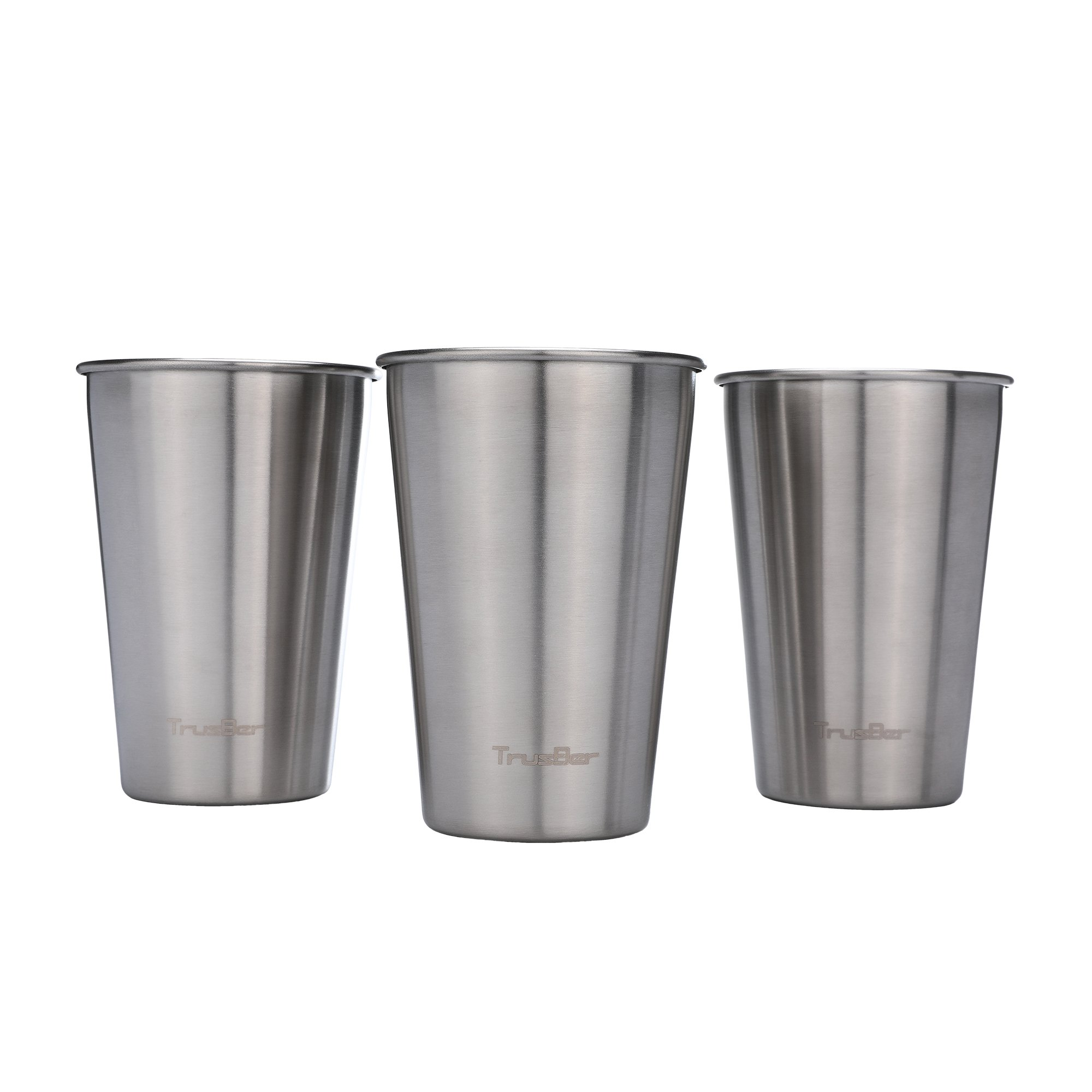 TRUSBER Stainless Steel Cups (3 Pack), 16 Oz Metal Drinking Tumblers - 18/8 Food Grade Steel, BPA Free, Stackable & Unbreakable - Great for Indoor, Outdoor - Adults & Kids Friendly