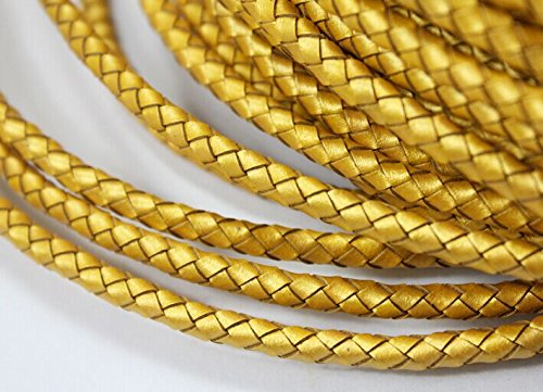 AaaZee 3 Yards 5.0mm Diameter Genuine Leather Bolo Cord, Braided Leather Bracelet Cord Craft (gold)