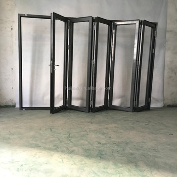 Aluminum Exterior Metal Soundproof Accordion Door Interior Glass