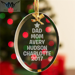 Family Name Tree Glass Christmas Ornament for Personalized Family Christmas Gifts