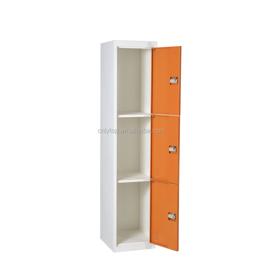 Two color matte narrow 3 door cheap baby wardrobe clothes cabinet