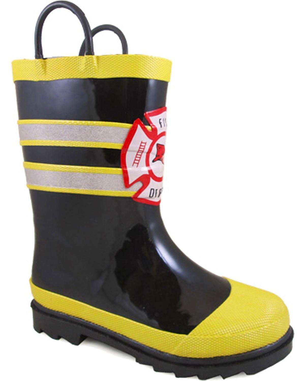 Smoky Children/'s Kid/'s  Fireman Black Waterproof Rubber Rain Boot With Reflectio