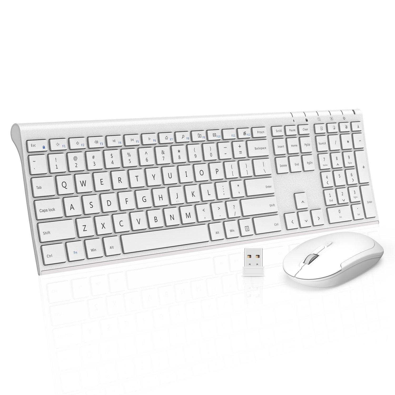 Wireless Keyboard Mouse, Jelly Comb 2.4GHz Ultra Slim Full Size Rechargeable Wireless Keyboard and Mouse Combo for Windows, Laptop, Notebook, PC, Desktop, Computer (White)