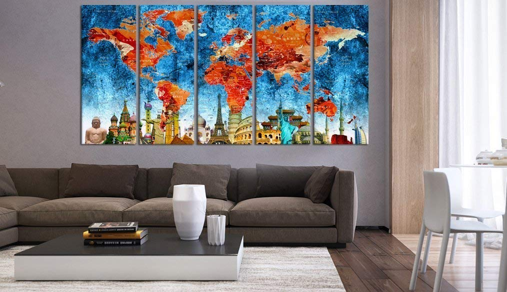 Blue And Red World Map Push Pin Canvas Wall Art Print, Framed Art, Abstract World Map With Details, Cities Names, Country Name Hr55
