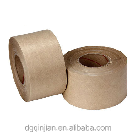 Reinforced water activated kraft paper gummed tape