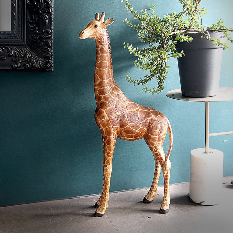 Modern 43*93cm Giraffe Statue with <strong>Resin</strong> for Living Room Shop Decorative Sculpture Animal Ornament