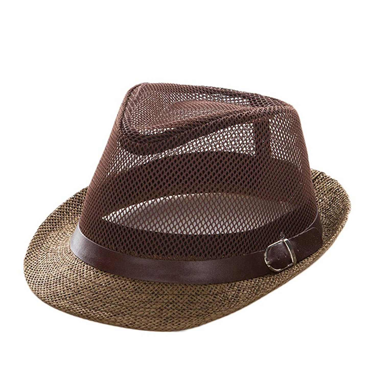 f9f7a1582f3 Get Quotations · 4URNEED Womens Mens Summer Hats Trilby Fedoras Hats Beach  Sun Hat Straw Panama Hat