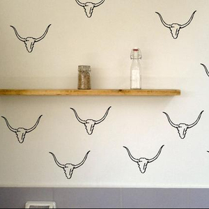 DIY20PCs Cow Wall Decal Vinyl Stickers Tribal Theme Nursery Wall Art Removable Wallpaper Western Decal TA005