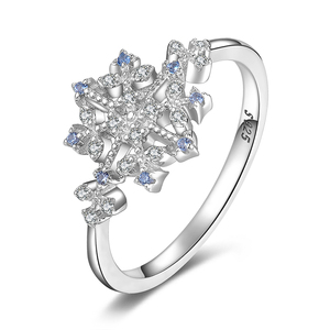 JewelryPalace Winter Love Created Light Blue Spinel Cubic Zirconia Snowflake Promise Ring 925 Sterling Silver