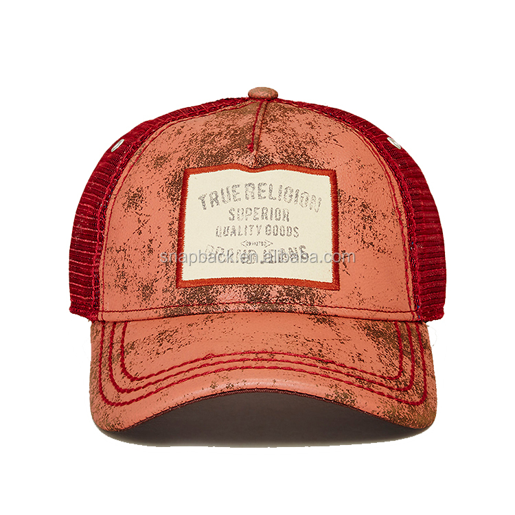 545cd7d907827 Wholesale Custom Vintage Flat Embroidery Printed Distress Curved Bill Mesh  Trucker Cap And Hat