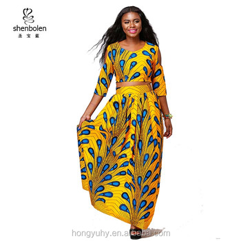 african kitenge dress designs two pieces sets wax peacock printed