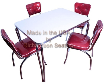 Commercial Chrome Diner Chairs With Chrome Retro Table For Restaurants