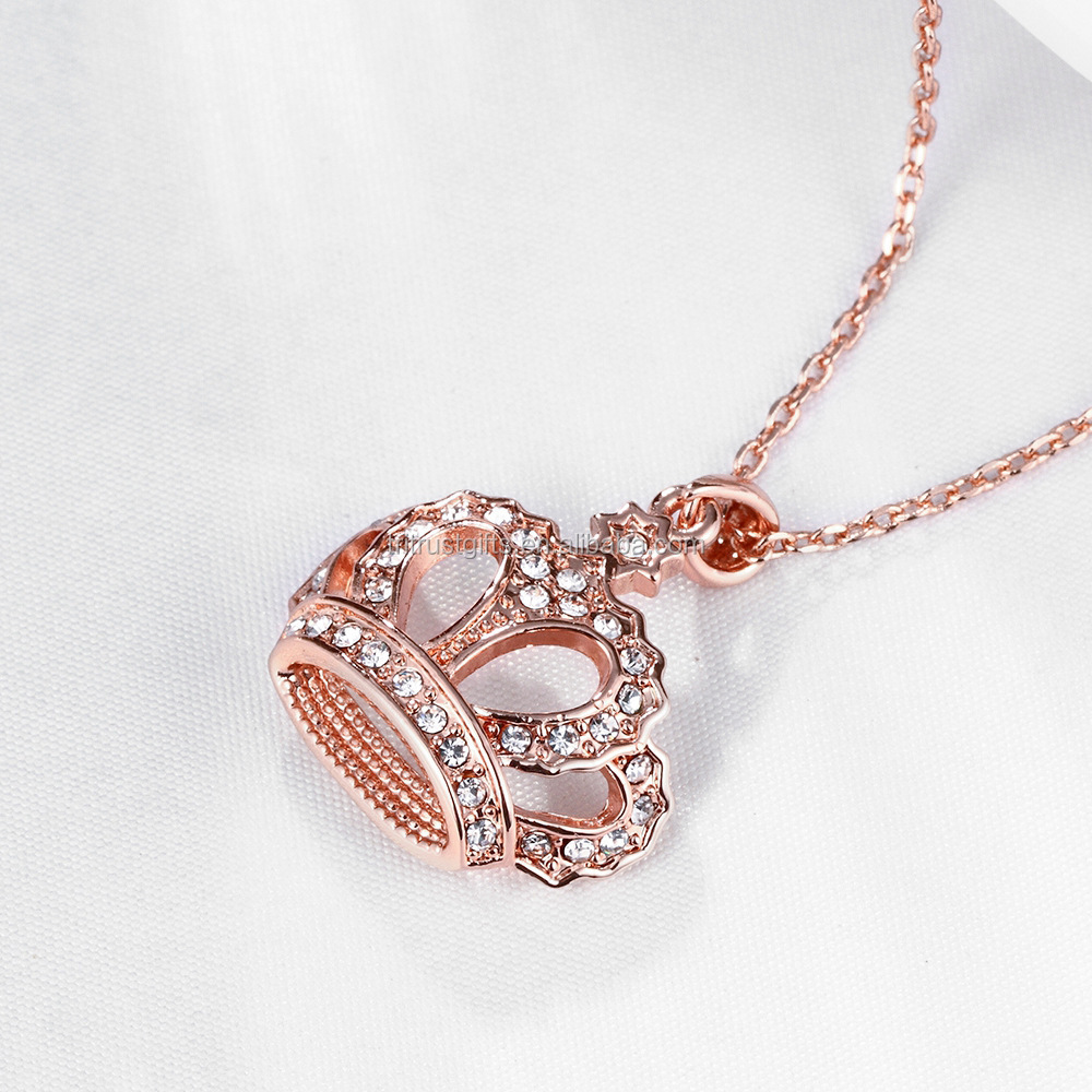 Jewelry Womens Queen Crown Pendant Necklace Rose Gold/Platinum Plated With Crystals