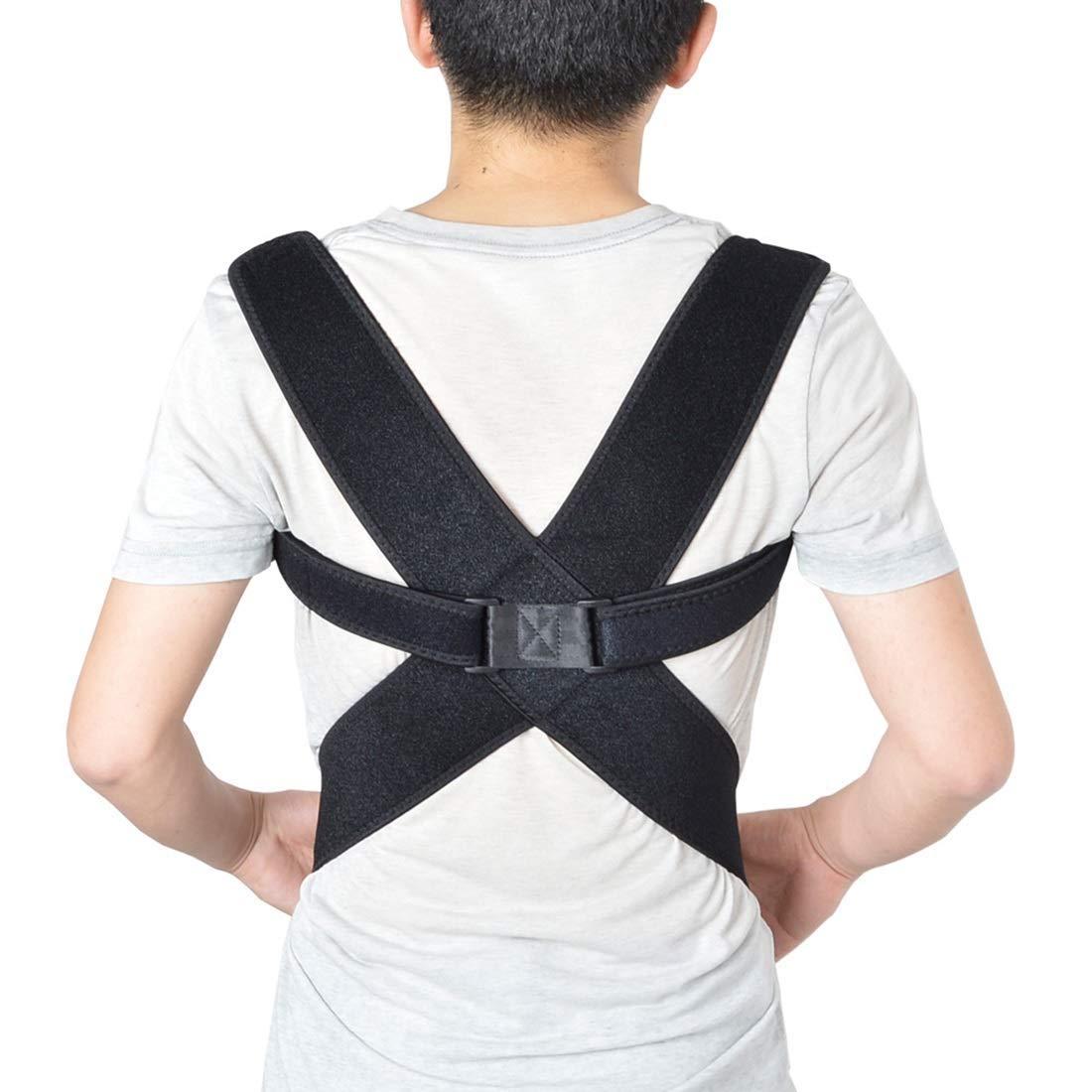 MISSKERVINFENDRIYUN YY4 Humpback Correction Belt Adult Spine Back Correction Belt Adjustable Elastic Size Correction Belt Invisible Correction Belt (Color : Black, Size : M)