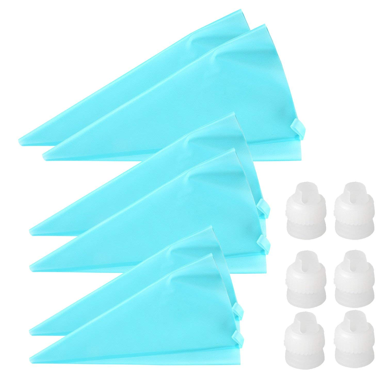STARUBY 6Pcs Pastry Bag Set Premium Silicone 3 Sizes Reusable Icing Piping Bags (10''+12''+14'')2 Baking Pastry Cake/Cupcake Decorating Presses Bags Small Medium and Large - Bonus 6 Icing Couplers