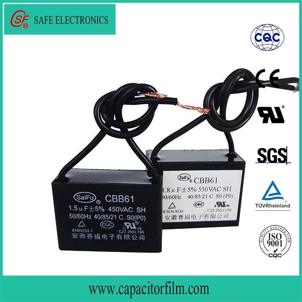 metallized polypropylene film square ac motor cbb61 capacitor for standing fan