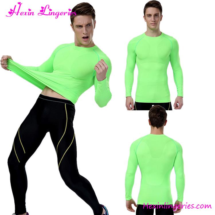 Модные флуоресцентные зеленые человечки с длинным рукавом Rash Guard сжатия рубашка