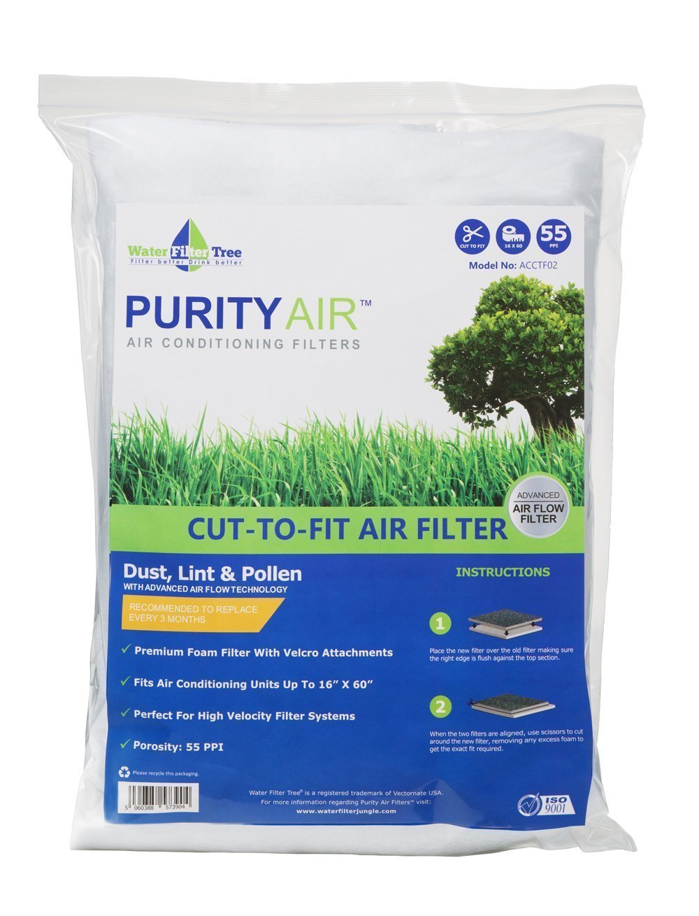 Purity Air Cut-to-Fit Carbon Air Filter: (16x60) 3-Pack, Fits Air Conditioner A/C, Air Purifier, Hood Vent, Air Vent & Ventilation Filters - Non-Woven (ACCTF02)