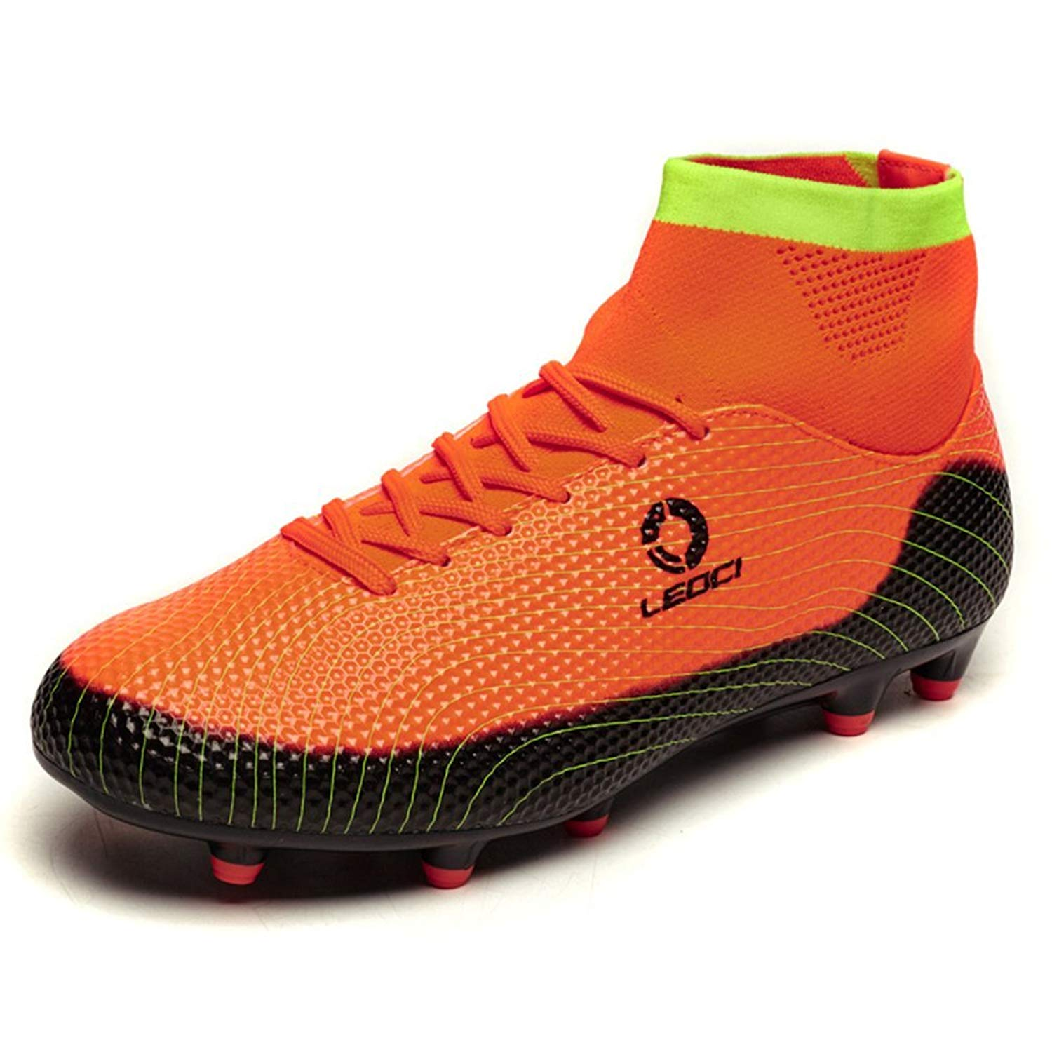 8e3cb86bf Get Quotations · LEODI High Ankle Long Spikes Soccer Shoes Men Boys Outdoor  Breathable Football Boots Soccer Cleats for