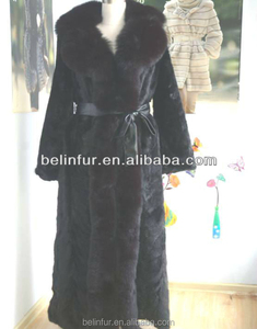 popular style Mink piece fur coat with fox fur trim 12924