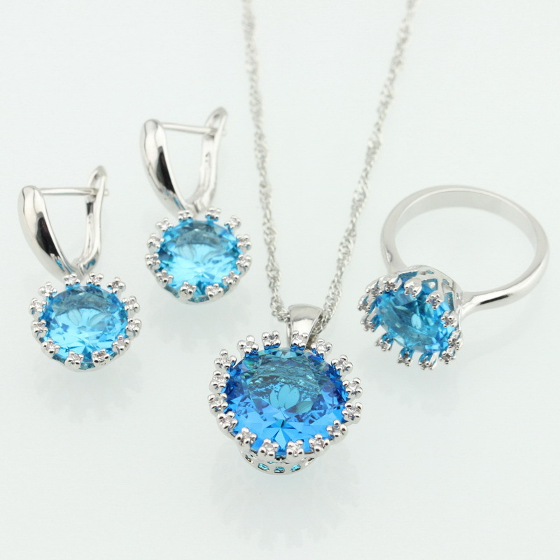 Sky Blue White Topaz Sterling Silver Jewelry Sets For Women Necklace Pendant Earrings Rings Size 6 7 8 9 Free Gift Box