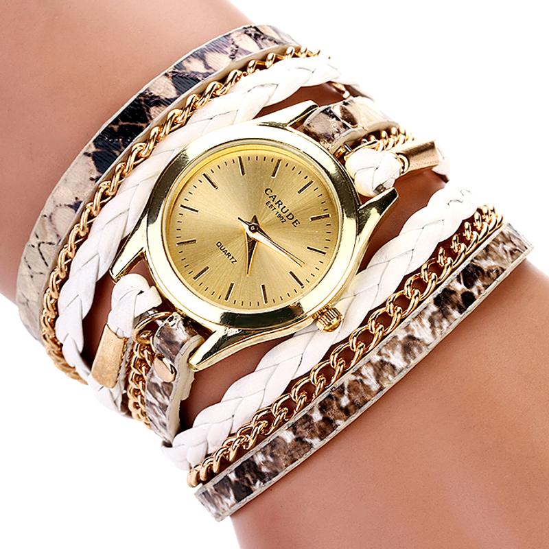 77 Fashion Hot Sell New Woven Leopard Geneva Bracelet Wristwatch Women Dress Watches Women Luxury Brand