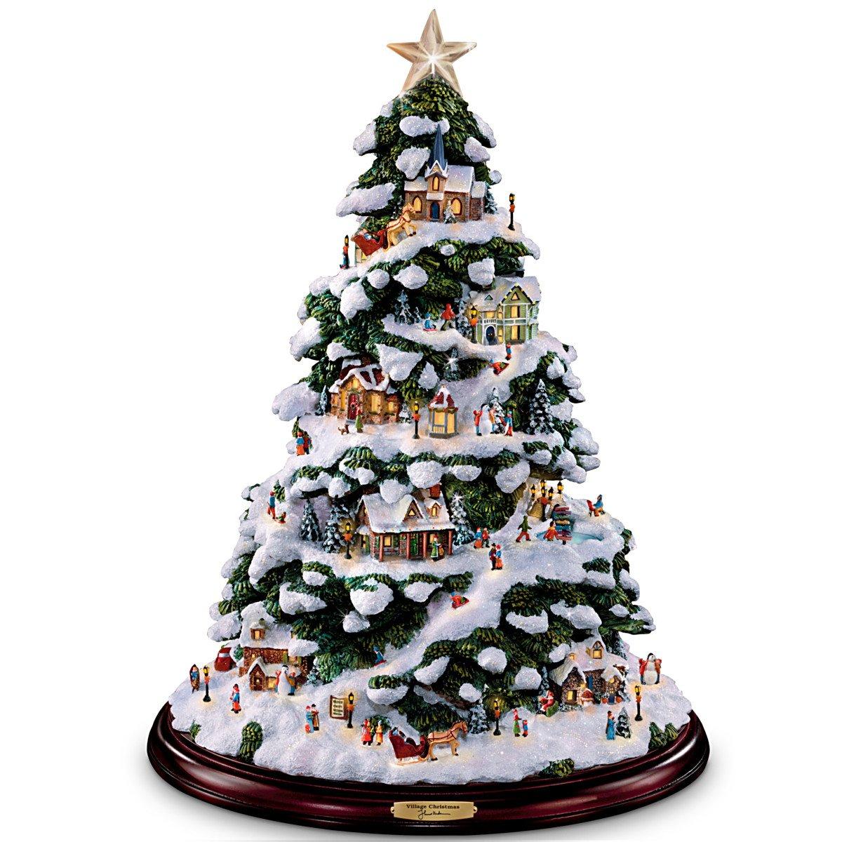 Thomas Kinkade Village Christmas Artificial Tabletop Christmas Tree by The Bradford Exchange
