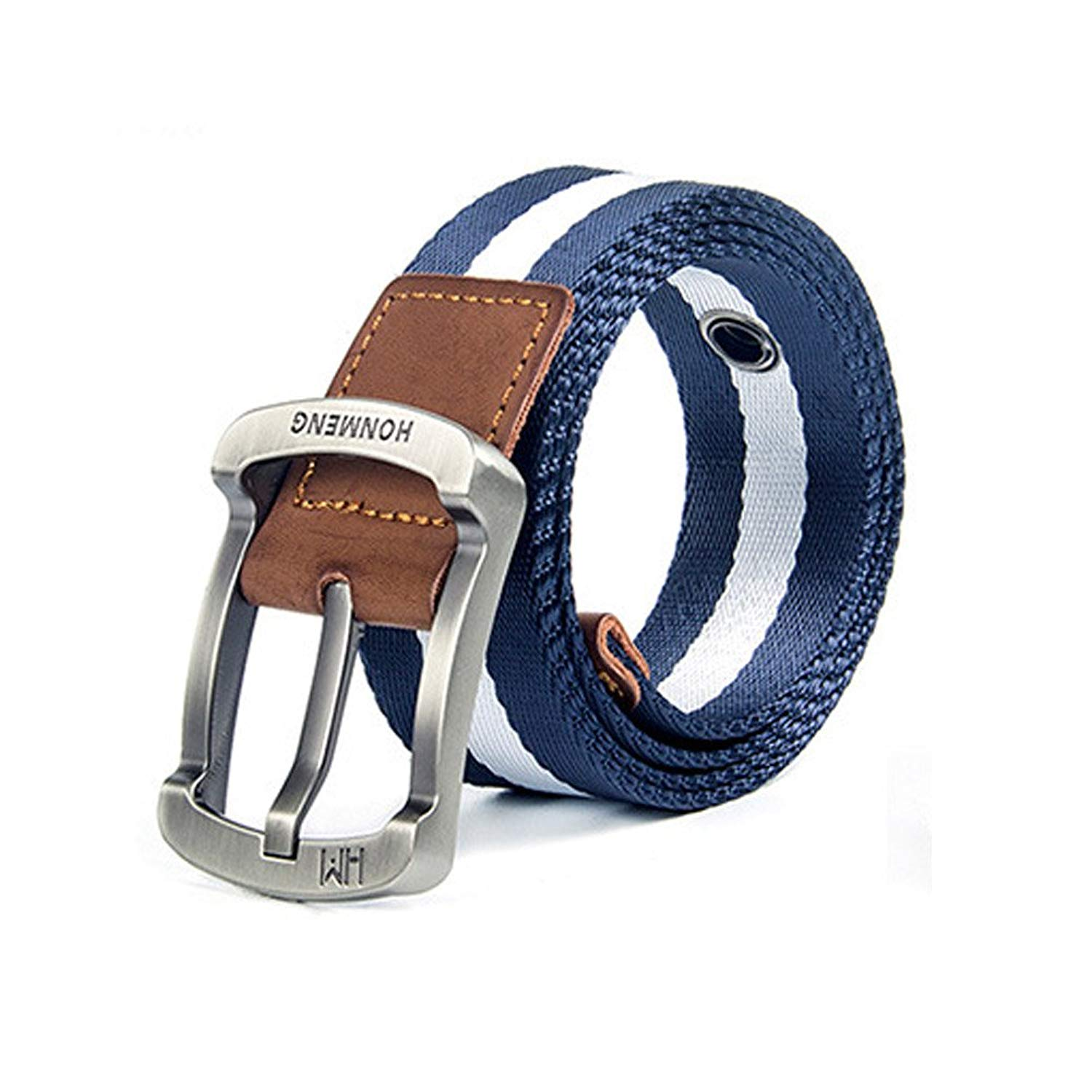 Get Quotations · HF Mens Nylon Belts Alloy Buckle Waistband Casual Canvas  Jeans Belts Outdoors Unisex 110cm 0fa75cd468