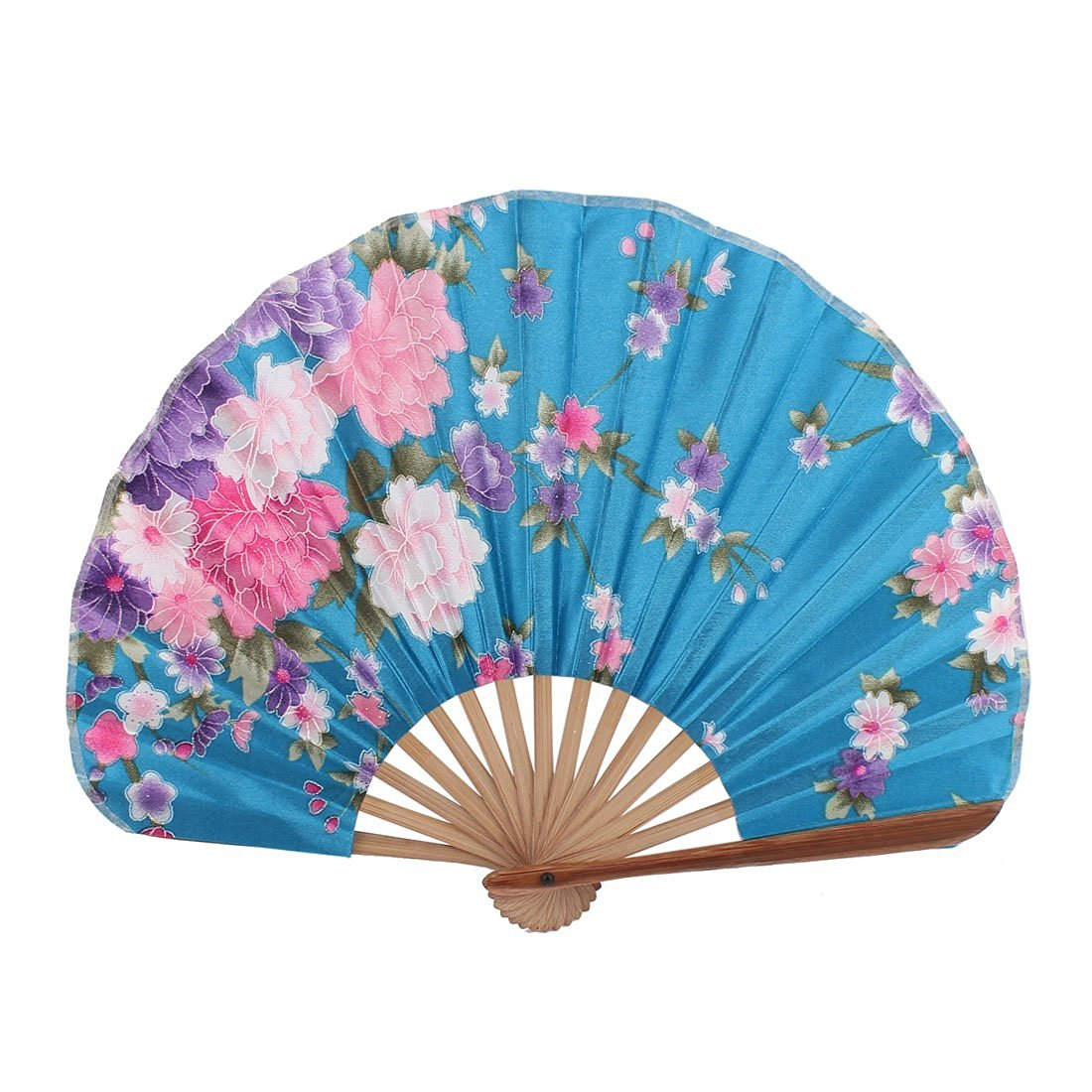 uxcell Bamboo Ribs Flower Printed Wedding Party Decor Folding Hand Fan Teal