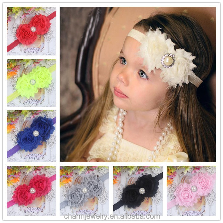 NEW shabby chic Baby Headbands Boutique flower +girls elastic <strong>hair</strong> bands+pearl <strong>hair</strong> <strong>accessories</strong> for kids BTS002