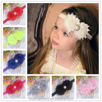 NEW shabby chic Baby Headbands Boutique flower +girls elastic hair  bands+pearl hair accessories 64d3ef9435f
