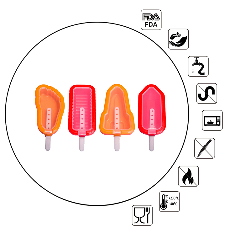 FDA Approved Kitchen DIY 3D Silicone Popsicle Ice Cream Mold