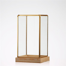 Hot selling geometric glass terrarium wholesale decorative glass terrarium with wooden base