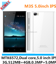 KOMAY new arrival smart phone m3s with 5.0mp camera and 512mb+4gb and 3g function android 4.4 os phone