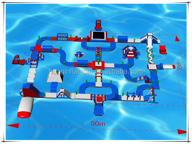 CE Marking 0.9mm PVC tarpaulin Water Amusement Park Playground Inflatable Floating Water Park For Sale