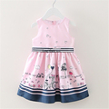 2016 Summer Stripe Belt Princess Party Dresses for Girls Print Brand Baby Girls Vest Dress Vestidos
