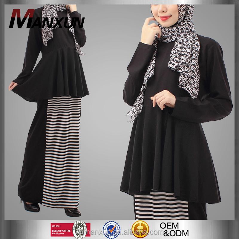 Designer Burqa 2 Pieces Peplum Blouse Dengan Garis Garis