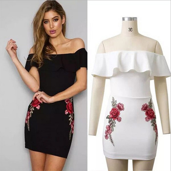 Women s Dress Printing Red Rose Embroidery Wrap Chest Flounces Backless  Dress cad797883