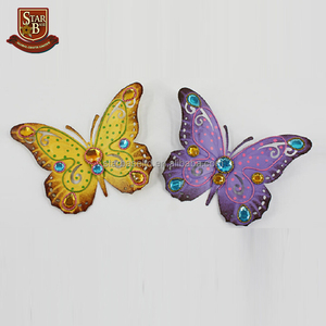 Metal beautiful custom design cheap wire butterfly wall art