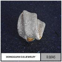 Fashion discount jewelry ring yellow brass zircon jewelry jewellery