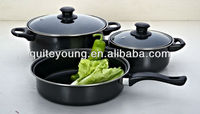 5pcs Carbon steel cookware with non-stick coating
