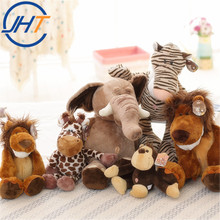 Wholesale plush jungle animals soft Kid Toy plush stuffed Brother Tiger Elephant Monkey Lion animals plush toys