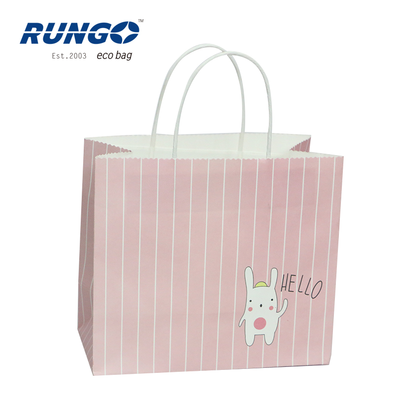 Fashion printed logo fancy shopping gift wholesale white kraft paper bag with paper rope