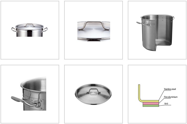 Type 05 stainless steel cooking pot with compound bottom stock pot with composite bottom