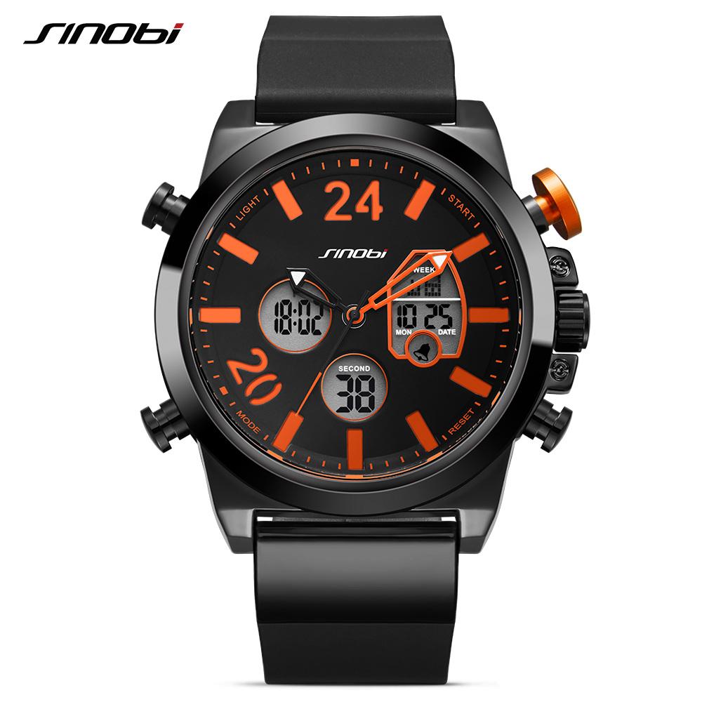 SINOBI 9732 Men's Watch Quartz Digital Movement Silicone Band Sport Watch For Men фото