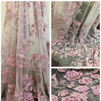Beautifical Wedding Dress Fabric 3d Handmade beaded tulle embroidery french lace fabric DHBF1294